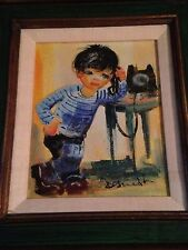 Boy with a telephone painting EXPRESS SHIPPING AVAILABLE!