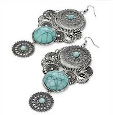 Long Silver Drop Earrings with Blue Tibetan stones