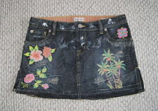 NWOT PEOPLE 4 PEACE FLORAL PALM TREE 27 EMBROIDERED DENIM JEAN SKIRT