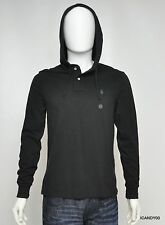 Nwt Ralph Lauren POLO Mesh Cotton Button Hoodie Jacket Sweater Top ~Black S
