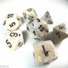 Chessex Dice Poly - Marble Ivory w/ Black - Set of 7 - 27402 Free Bag! DnD