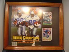 Barry Sanders/Emmitt Smith plaque 11 x 14 with 2 cards