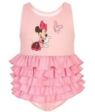 Disney Butteryfly Minnie Mouse Infant Girls Pink Ruffle Swimsuit Sz 3-6 Months