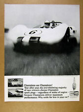 1965 Jim Hall Chaparral race car photo Champion Sparks Plugs vintage print Ad