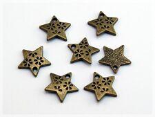 20 Anhänger, Sterne in antik Bronze