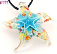 1pc Starfish blue flower star Murano Lampwork Glass Pendant bead Necklace p533