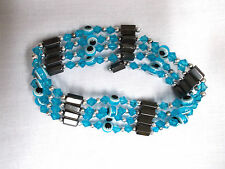 TURQUOISE BLUE EVIL EYE & MAGNETIC HEMATITE BEAD STRAND WRAP BRACELET NECKLACE