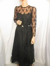 VINTAGE SZ:14 LONG BLACK LACE ELEGANT EVENING PARTY DRESS MAD MEN JACKIE O STYLE