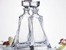 Crystal Glass Decanter Set Whiskey Cognac Vodka  17 oz + 17 oz  Vintage Carafe