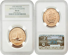 Peru 1976 Battle of Ayacucho One Sol Gold Coin NGC MS66