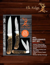 Elk Ridge Limited Edition 4 PC Gentlemans Knife Gift Set w/ Nylon Sheath Hunting