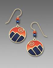 Adajio Mountain Scene in Blue & Sunset Orange EARRINGS Sterling Silver - Boxed