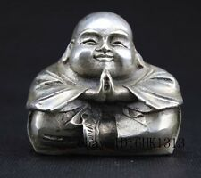 SUPERB OLD DECORATED HANDWORK MIAO SILVER CARVING BUDDHA LOVELY STATUE