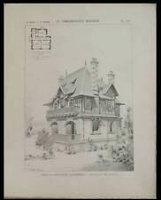 HOULGATE, VILLA - 1897 - PLANCHE ARCHITECTURE - EDOUARD LEWICKI