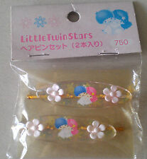 Sanrio LITTLE TWIN STARS 1998 Made in Japan set of  2 hairclips MINT