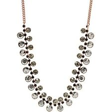 FOSSIL ROSE GOLD TONE CHAIN+GUNMETAL,BLACK CRYSTAL STUD BIB NECKLACE-JA6236791