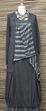 LAGENLOOK*KEKOO*LINEN MIX AMAZING QUIRKY GATHERED DRESS*GREY* Size 36-38-40