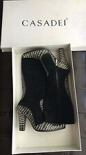CASADEI Suede Pointed Toe Black White Boots Suede And Leather Size 37