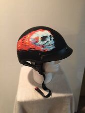 Size Large HOT LEATHERS Motorcycle Half Helmet Mirror Skull Design New In Box