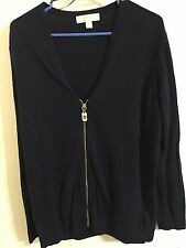 MICHAEL KORS Cardigan Zip Sweater Women's Size Large Black/Gold