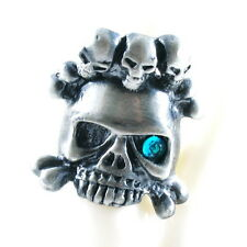 RING ghost SKULL monster pirate silver argent gray solid ONE SIZE LARGE blue NEW
