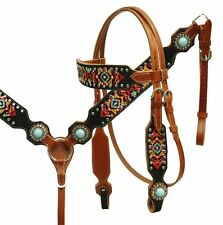 Showman Navajo Embroidered Headstall Breast Collar Set - Turquoise Stone Conchos