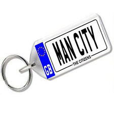 """NUMBER PLATE KEYRING FOR FOOTBALL FANS """" MAN CITY """""""