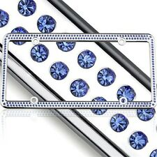Swarovski Blue Crystal Bling license plate frame Inlay With Matching Screw Caps