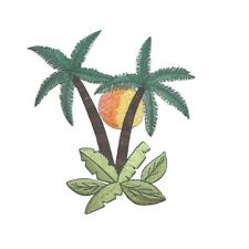 ID 5017 Tropical Palm Tree Scene with Sun Embroidered Iron On Applique Patch