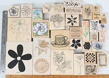 Flower Lot (35) Rose Vine Tulip Magnolia Poinsettia Wood Mounted Rubber Stamp