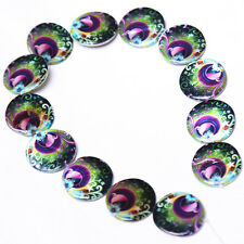 1string Faux Shell Spacer Beads Findings 30mm Oblate Colorized Peacock Style BS