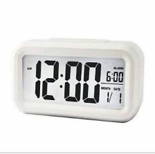 Digital Smart Backlit LCD Display Alarm Clock With Snooze Calendar (White)