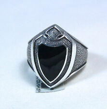 New David Yurman Men's Sterling Silver Black Onyx Armory Shield Ring Sz 10 $550