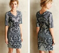 NEW ANTHROPOLOGIE SKETCHED LACE DRESS BY YOANA BARASCHI SZ 0P 0 PETITE
