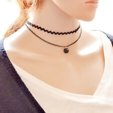 Retro Double Layers Black Lace Choker Collar Chain Women Choker Necklace