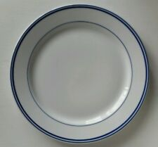"""CUISINART Vitrified 12"""" Dinner Serving Charger Chop Plate(s) White w/ Blue Trim"""