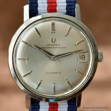 UNIVERSAL GENEVE POLEROUTER SILVER DIAL AUTO MICROTOR CAL 69 STAINLESS STEEL UG