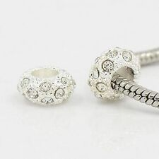 100 Pcs Alloy Rhinestone European Beads Rondelle 5mm Large Hole Bead Crafts