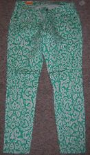 OLD NAVY Green White Lower Rise Super Skinny Stretch Leggings Jeans Size 16 NWT