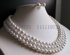 "3 Rows 8mm white south sea shell pearl necklace Earrings 17-19"" LL008"