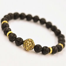 2 PCS New Fashion GOLD/SILVE Lion Head with Lava Stone Beaded Braclet For Men