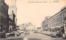 Vermont postcard Bellows Falls, Main Street 1943 street scene