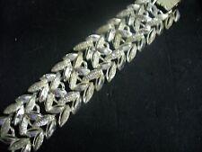 """Vintage Brushed Textured Silvertone Metal Open Leaf 6"""" Link Chain Bracelet"""