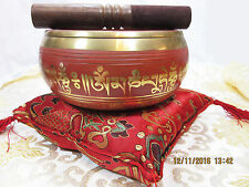 "INTRICATE GOLDEN DETAIL 6"" OM MANTRA TIBETAN BUDDHIST SINGING BOWL 3 PIECE SET"