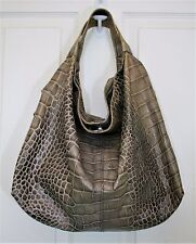 FURLA ELISABETH HOBO BAG CROC EMBOSSED HANDBAG GRAY TAUPE LEATHER $555