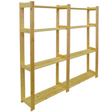 Solid Scandinavian Pine Double Width 4 Tier Shelves - Natural IP10374