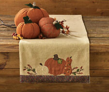 "Autumn Pumpkin Harvest Embroidered Table Runner 13""x36"""