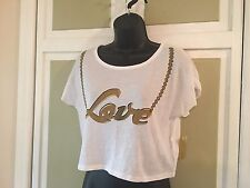 Niki Minaj Brand Super Cute White Crop Top w/ Gold Embellishments Sz S NWT