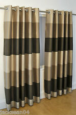 """BRAZIL BROWN BEIGE STRIPED FAUX SILK LINED RING TOP 46"""" X 54"""" CURTAINS #OIR"""
