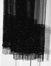 Vtg 1940's Fringed JET Beaded SCARF Orig Box Stewart's Louisville KY Heavy 103""